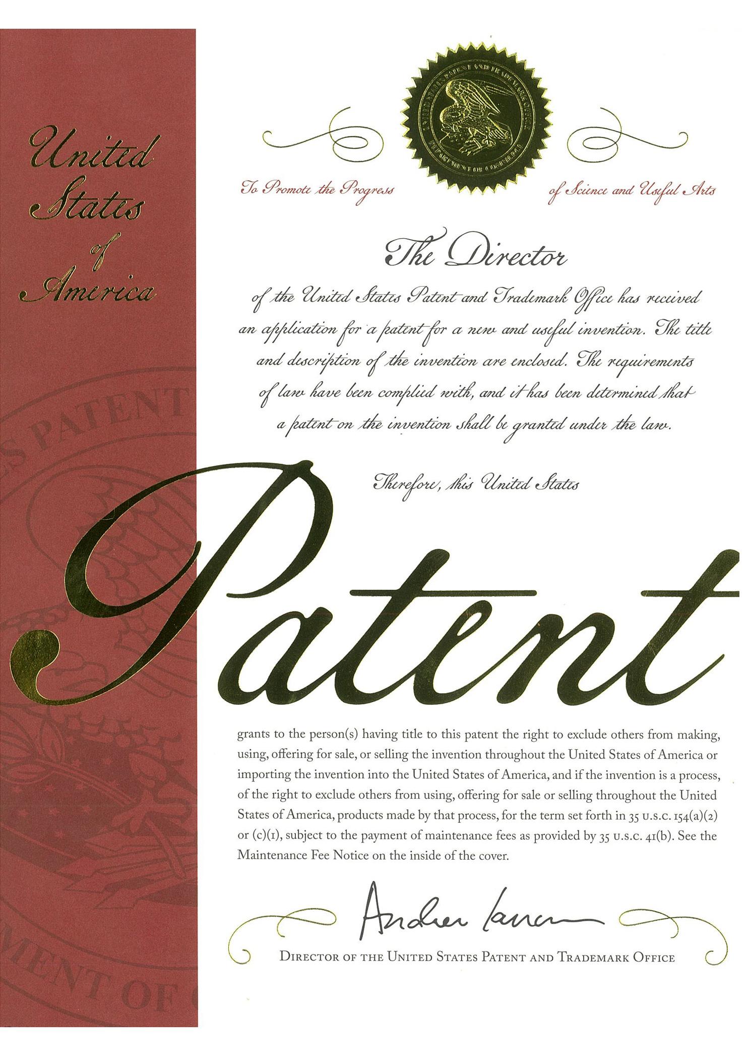 ボックス型ライブカメラネット直売システム米国特許証表紙
