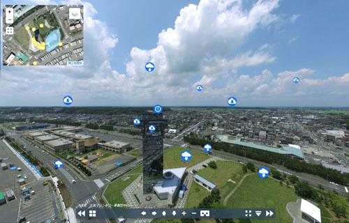 大洗マリンタワー上空の画面