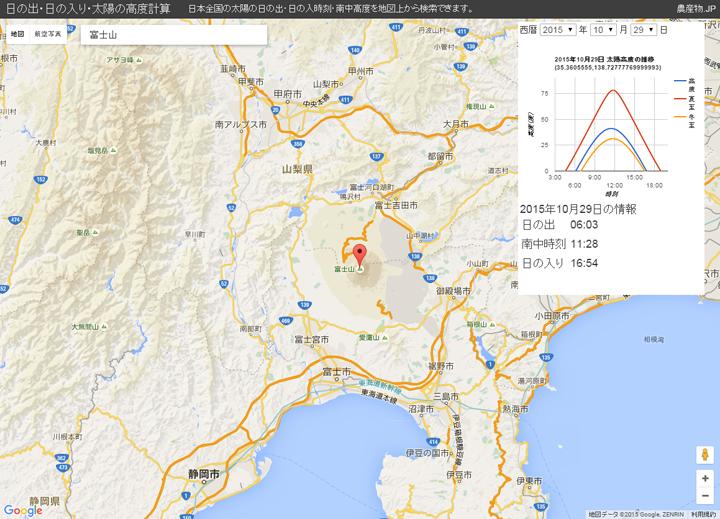 日の出・日の入り時間:太陽高度計算地理情報システム