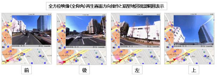 地図誘導全方位映像システム【V-mavi】 地図表示イメージ